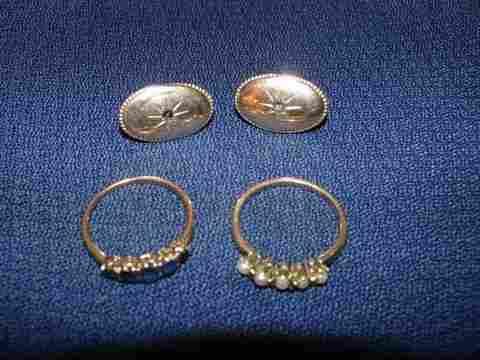 91:LOT:10KG DIAMOND EARRINGS ;PEARL RING;SAPPHIRE RING