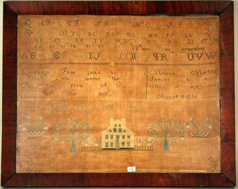 1C: E. 19TH C. AMERICAN SGD. & D. SAMPLER, VT . OR MA.