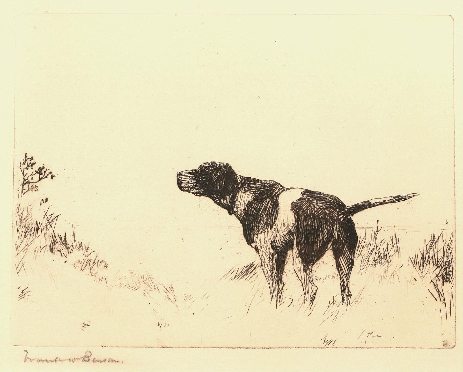 FRANK WESTON BENSON (American, 1862-1951), ETCHING