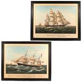 2pc CURRIER  IVES LITHOGRAPHS 1852  1854