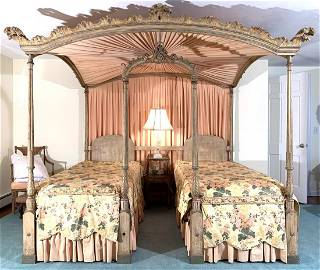 SHERATON STYLE CARVED & POLYCHROME TWIN BEDSTEAD