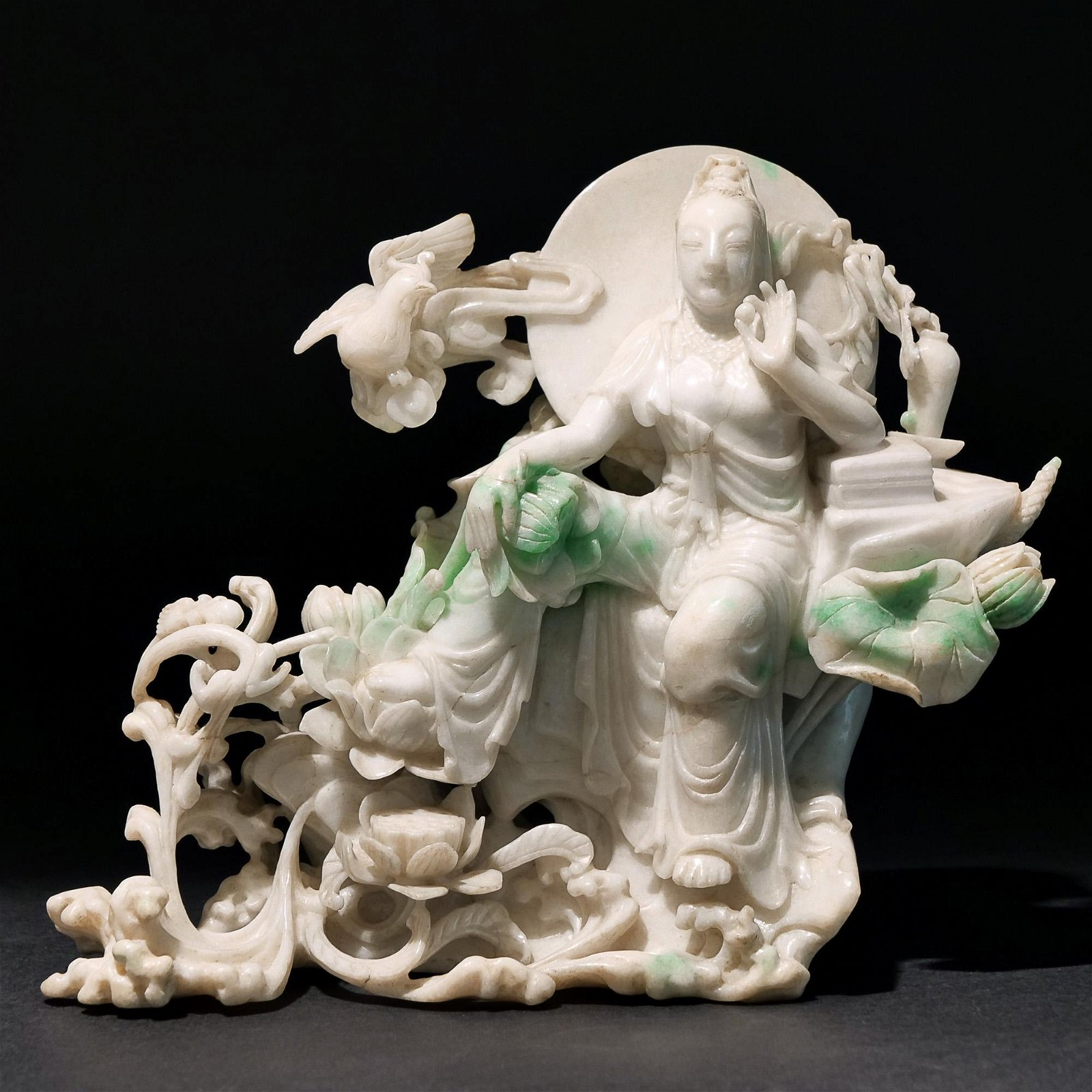 CARVED MOSS-IN-SNOW JADE FIGURAL GROUP