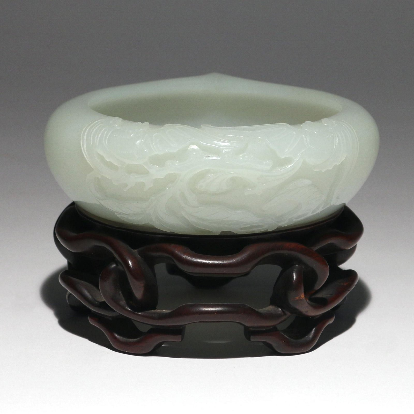 CHINESE CARVED PALE JADE WATER COUPE