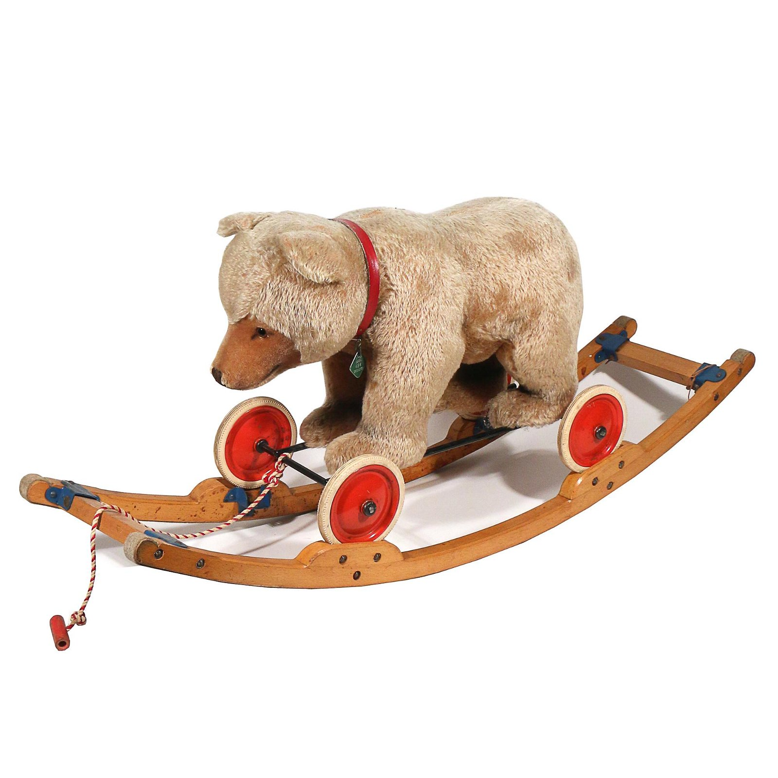 STEIFF BLOND TEDDY BEAR PULL-TOY/ROCKER