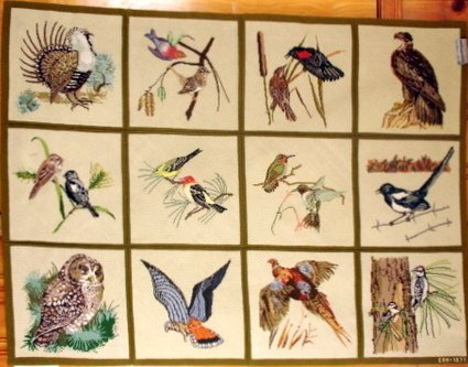 9: HAND MADE NEEDLEPOINT 12 SQUARE RUG W/DIFFERENT BIRD