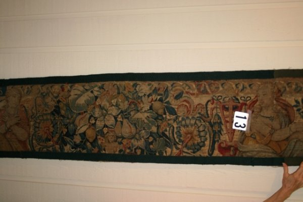 13: 18TH C. TAPESTRY FRAGMENT W/LETTERS SPES IN UPPER L