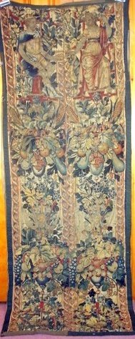 26: 18TH C. CONTINENTAL TAPESTRY IN 2 PIECES OF 2 SEATE