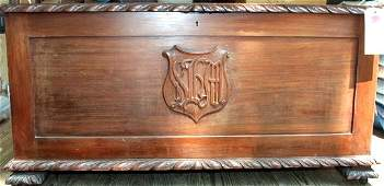 20TH C. CARVED MAHOGANY BLANKET CHEST, W/FAMILY M