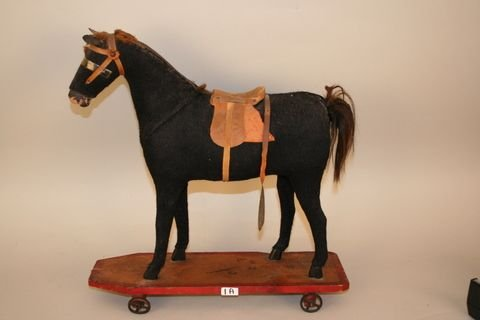 """1A: 1a) 19TH C. STUFFED WOOLEN TOY PULL HORSE, H. 17"""""""