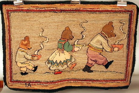 1A:   E. 20TH C. FOLK ART HOOKED RUG, SHOWING THREE BEA