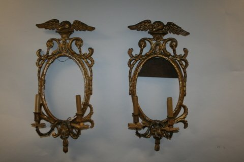 11:  PAIR 19TH C. AMER/ENGLISH GILT CARVED WALL SCONCES