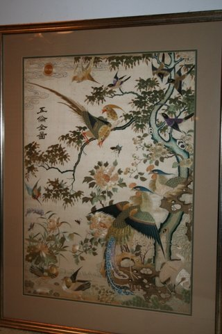 250: ASIAN FRAMED EMBROIDERY PANEL OF EXOTIC BIRDS