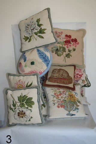 3) LOT 13 EMBROIDED PILLOWS