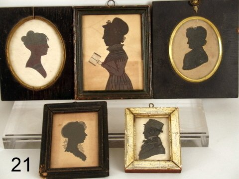 21) GROUP OF 5-19TH C. SILHOUETTES