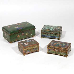 (4pc) CHINESE & JAPANESE CLOISONNE BOXES