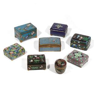 [RETURN] (8pc) CHINESE & JAPANESE CLOISONNE BOXES