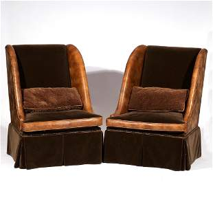 PAIR BESPOKE MOHAIR & LEATHER LOUNGE CHAIRS