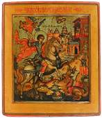 FINE RUSSIAN ICON of ST. GEORGE and the DRAGON