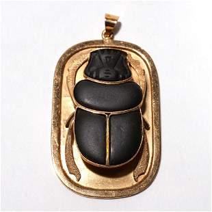 JET & 18k GOLD EGYPTIAN SCARAB PENDANT