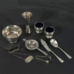 (10pc) MISC. STERLING SILVER: TIFFANY, KIRK & SONS