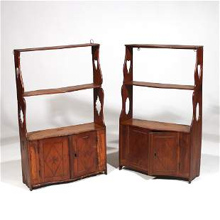 NEAR PAIR E. 19TH C. WALL CABINETS of SMALL SIZE