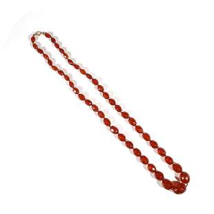 FACETED AMBER BEAD NECKLACE