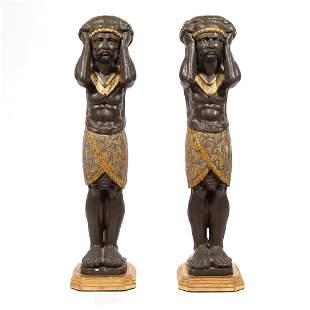 PAIR 19th C. GILT WOOD EGYPTIAN CARVED FIGURES