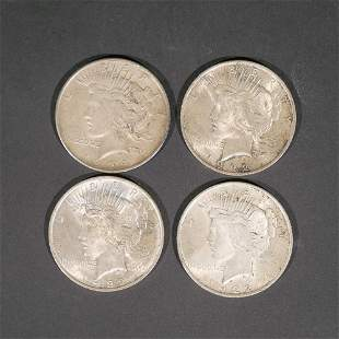 (4pc) 1920s SILVER PEACE DOLLARS