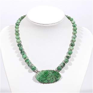 CARVED JADE PENDANT & BEADED NECKLACE