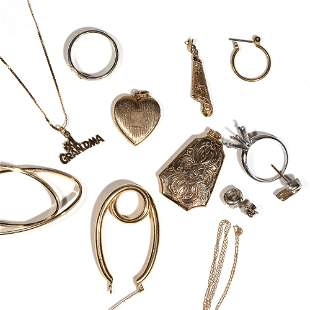 LOT MISC. GOLD & OTHER JEWELRY