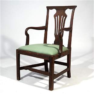 ENGLISH STAINED OAK ARMCHAIR