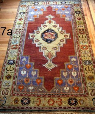 7) EARLY 20TH CENT. ANATOLIAN RUG 4' X 7' W/ MEDALLION