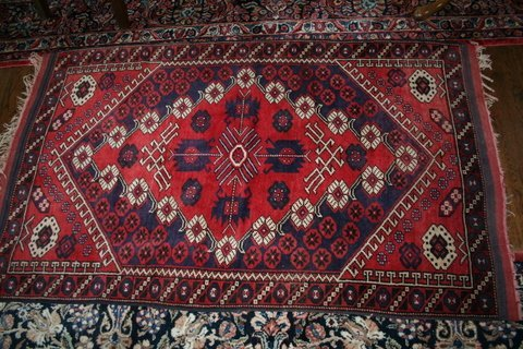 7A) CAUCASIAN RUG W/ MEDALLION CENTER; BLOOD-RED FIELD