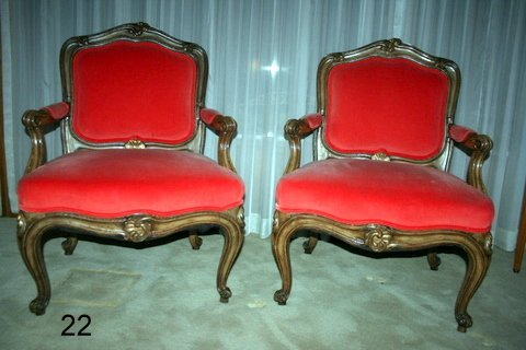 22) PAIR LOUIS XV-STYLE FAUTEUILS W/TRACES OF GILT,
