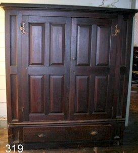 319) 18TH C. AMERICAN WALNUT KAS /PANELED DBL. DOORS