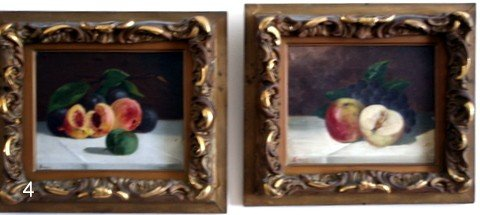 4) PAIR 19TH C. AMERICAN  TABLE TOP STILL-LIFE PAINTING