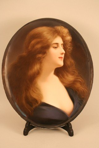 "7) KPM PORCELAIN OVAL PLAQUE, ""REFLECTION"" ½ PORTRAIT"