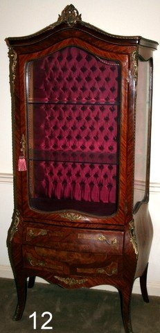 12) 20TH C. LOUIS XV-STYLE BOMBE ORMOLU MOUNTED VITRINE
