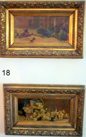 18) PAIR 19TH C. ENGLISH SCHOOL TABLE TOP STILL-LIFE
