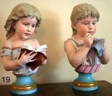 19) PAIR BISQUE PORCELAIN BUSTS OF YOUNG GIRLS,