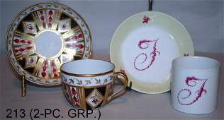 213 4 PC LOT OLD PARIS CUP  SAUCER AND MEISSEN CUP
