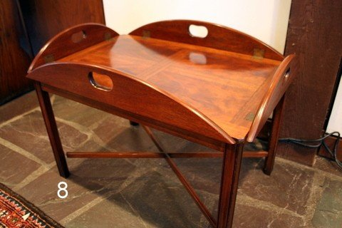8) 20TH C. MAHOG. BUTLER'S TRAY ON STAND,