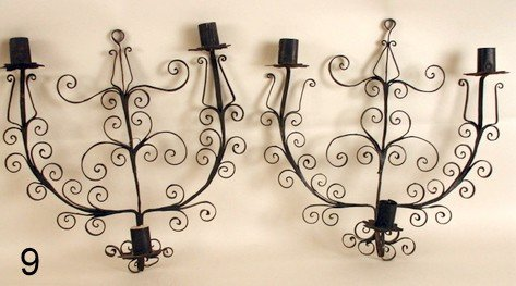 9) WROUGHT IRON SCONCES, PROBABLY 18TH C.