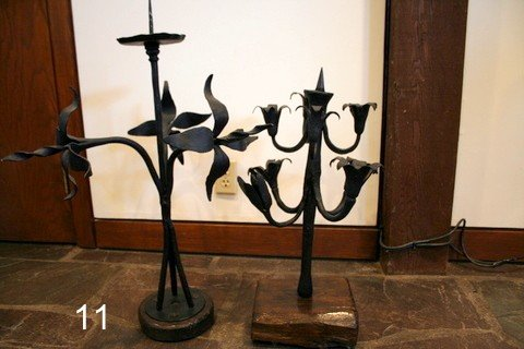11) 2-WROUGHT IRON PRICKET FORM CANDLESTICKS,
