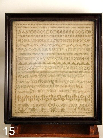 15) ENGLISH/AMER. SAMPLER, D. 1833, ALPHABET & SAYING