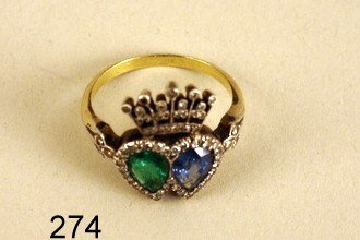 274) EDWARDIAN LADY'S RING, W/1 CT. SAPPHIRE & 0.6 CT.