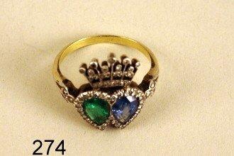 274) EDWARDIAN LADY'S RING, W/1 CT. SAPPHIRE & 0.6 CT.