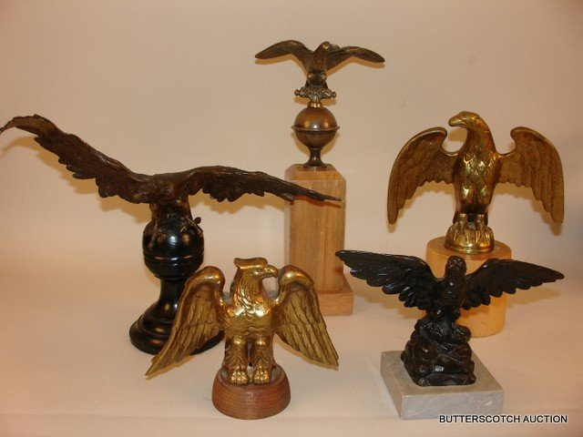 17) LOT OF 5: AMERICAN EAGLE FREESTANDING BRONZES