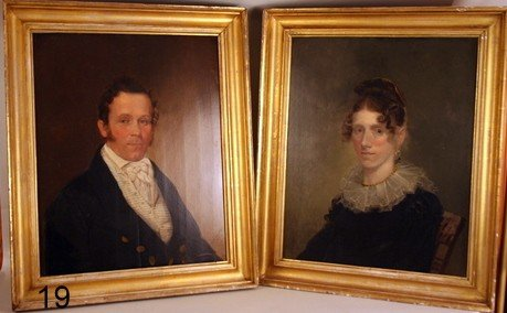 19) PAIR AMERICAN PORTRAITS BY HENRY WILLIAMS (AMER. 17