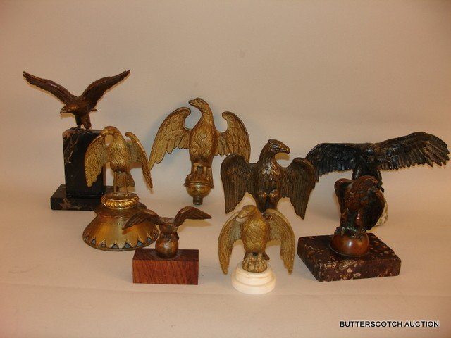 23) LOT OF 8: AMERICAN EAGLE FREESTANDING BRONZES